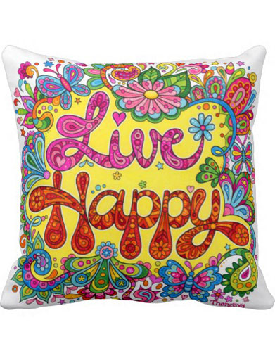 Colorful Pillows decorated with the art of Thaneeya McArdle
