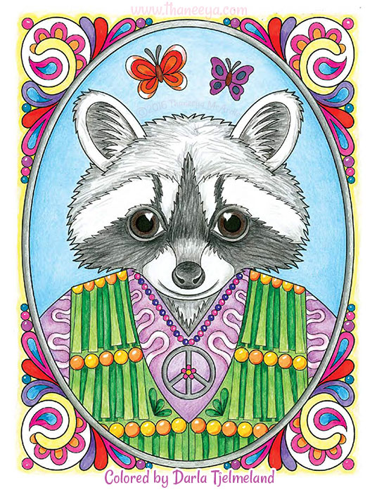 Hippie Raccoon Coloring Page By Thaneeya McArdle