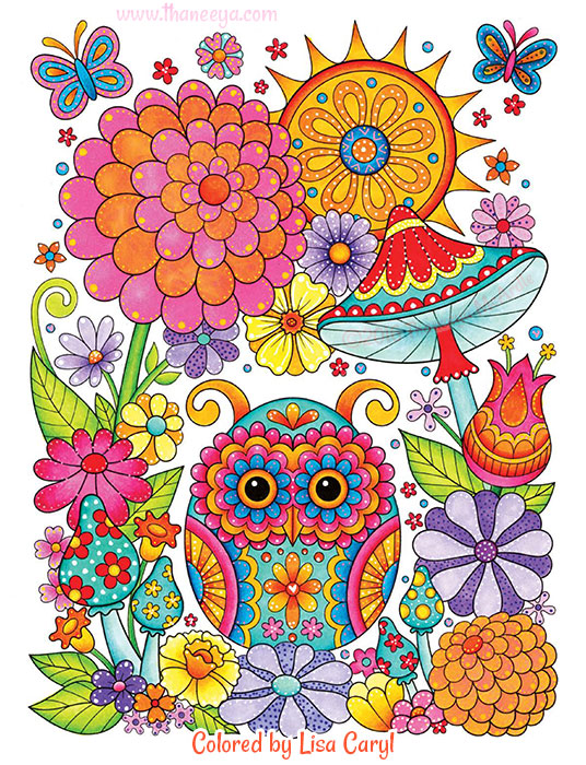 Owl Garden Coloring Page by Thaneeya McArdle