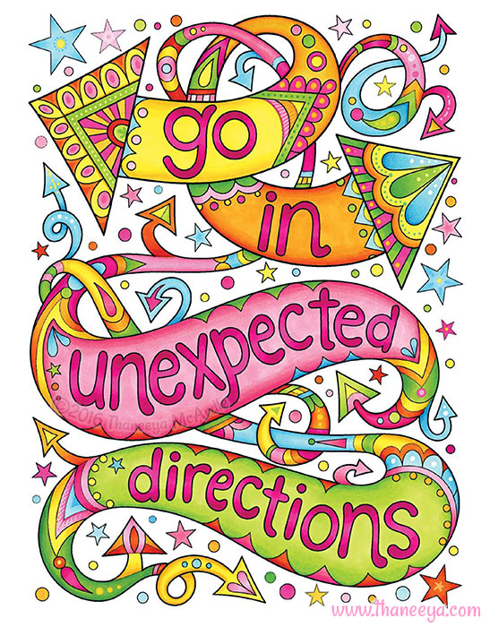 Go in Unexpected Directions Coloring Page