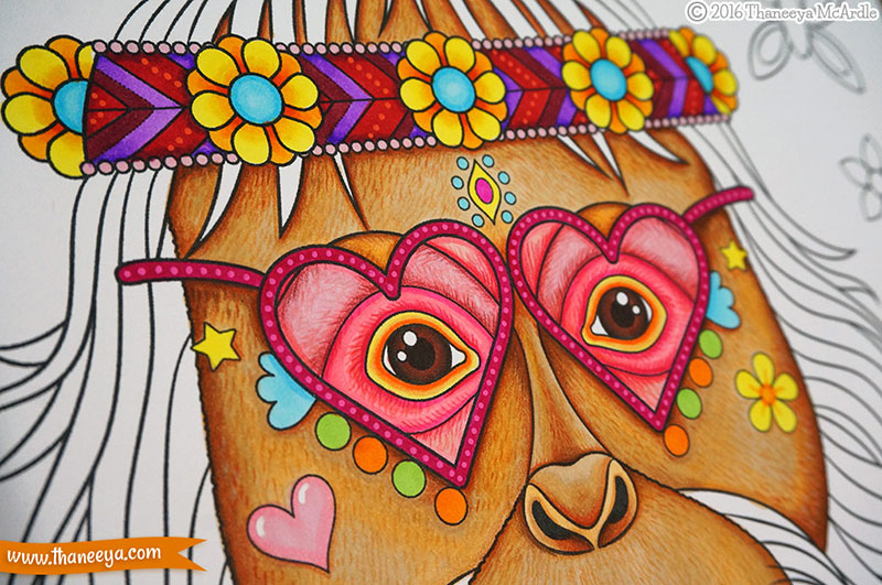 Orangutan Coloring Page Close-Up from Hippie Animals Coloring Book by Thaneeya McArdle