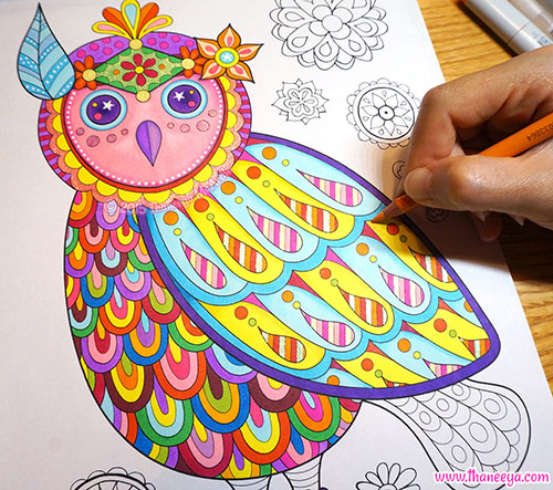 Owl Coloring Page from Free Spirit Coloring Book by Thaneeya McArdle