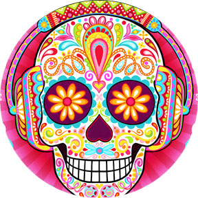 Colorful Sugar Skull Art by Thaneeya