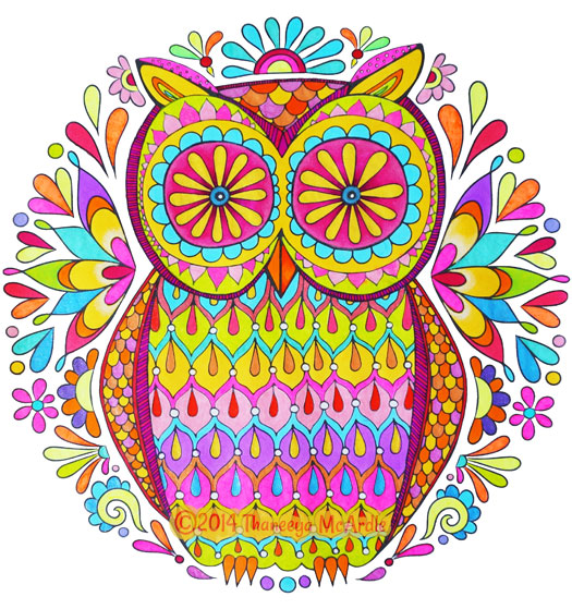 Owl Mandala Coloring Page by Thaneeya McArdle