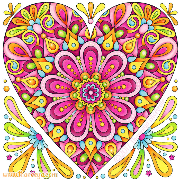 Pink Heart Coloring Page by Thaneeya McArdle