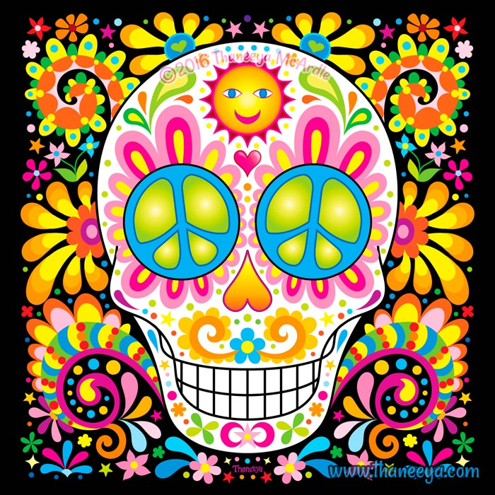 Spree colorful sugar skull art by thaneeya mcardle