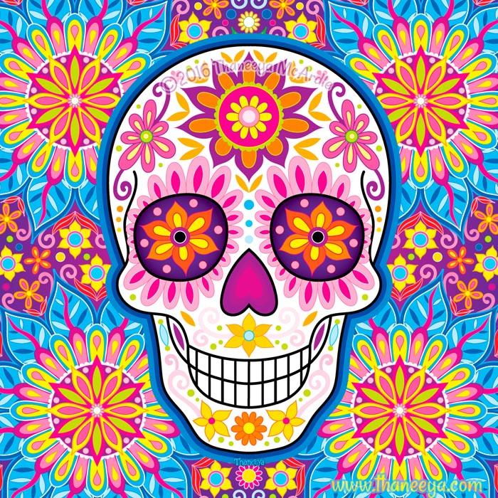Inflorescent Dia de Muertos Skull by Thaneeya