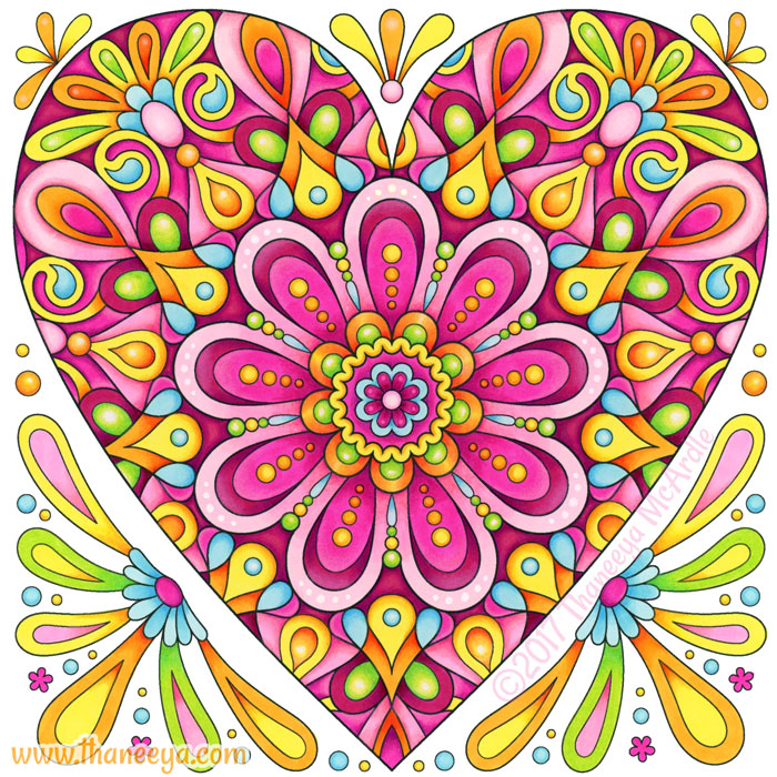 Pink Heart Colored Art by Thaneeya McArdle