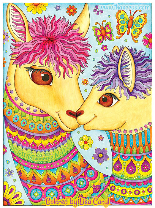Colorful Llamas Coloring Page by Thaneeya McArdle