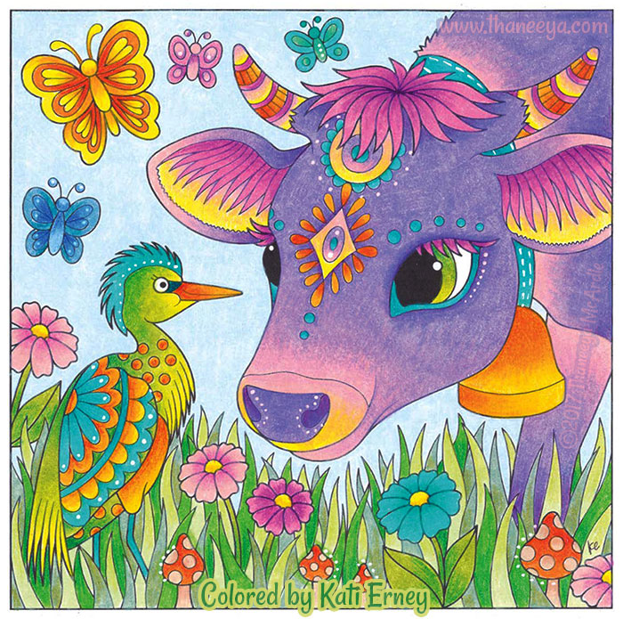 Cow and Cattle Egret Coloring Page by Thaneeya McArdle