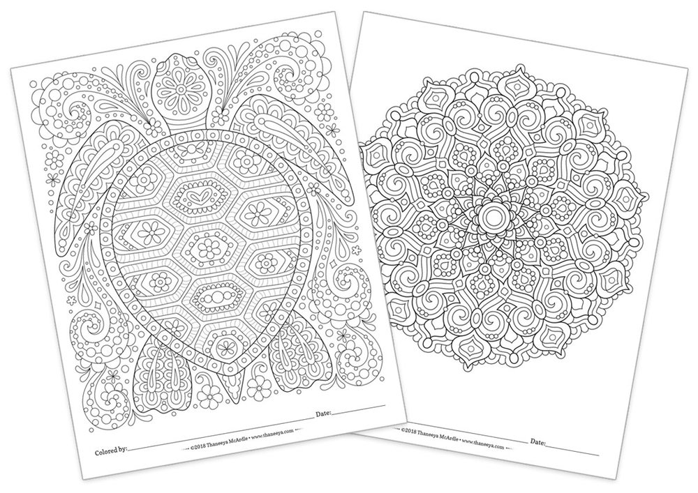 Two Free Coloring Pages by Thaneeya McArdle