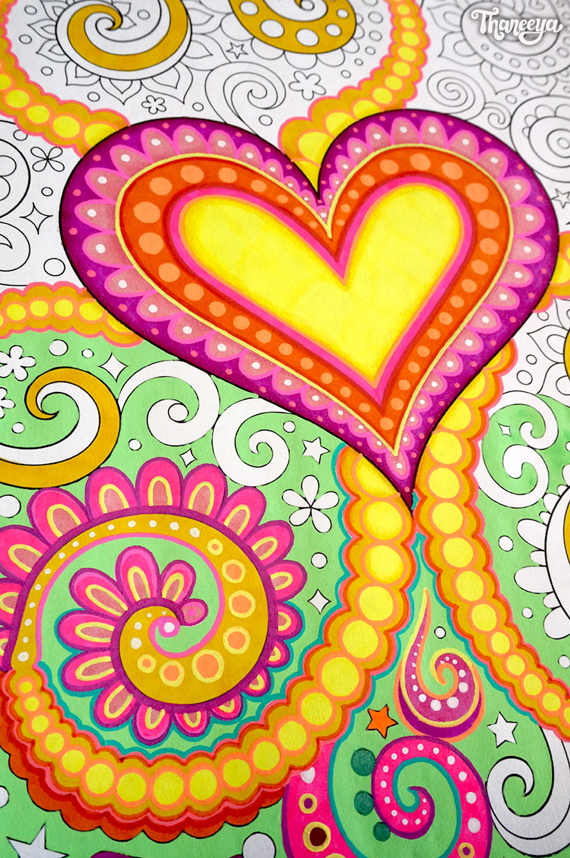 Close-up of a heart coloring page from Thaneeya McArdle's Power of Love Coloring Book