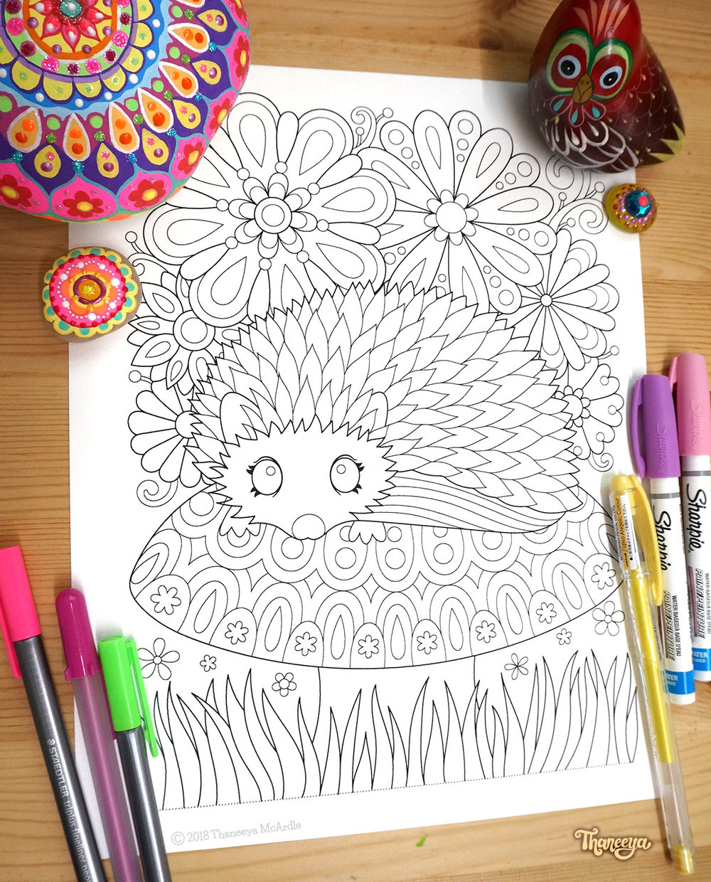 Hedgehog coloring page by Thaneeya McArdle