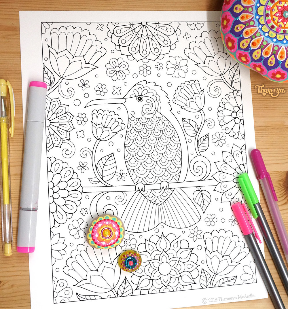 Hummingbird coloring page by Thaneeya McArdle