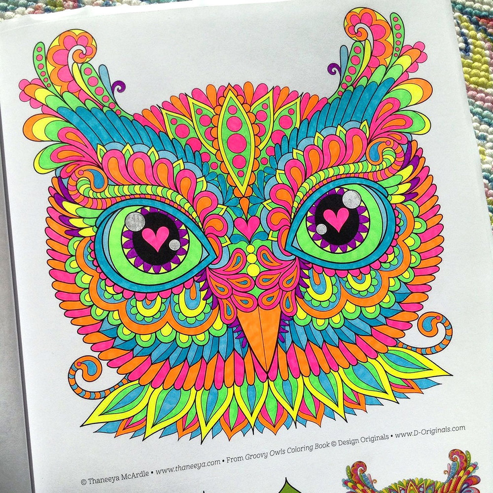 Owl coloring page by Thaneeya McArdle, colored by Tammy M using Neon Sharpies and a blue Sharpie highlighter