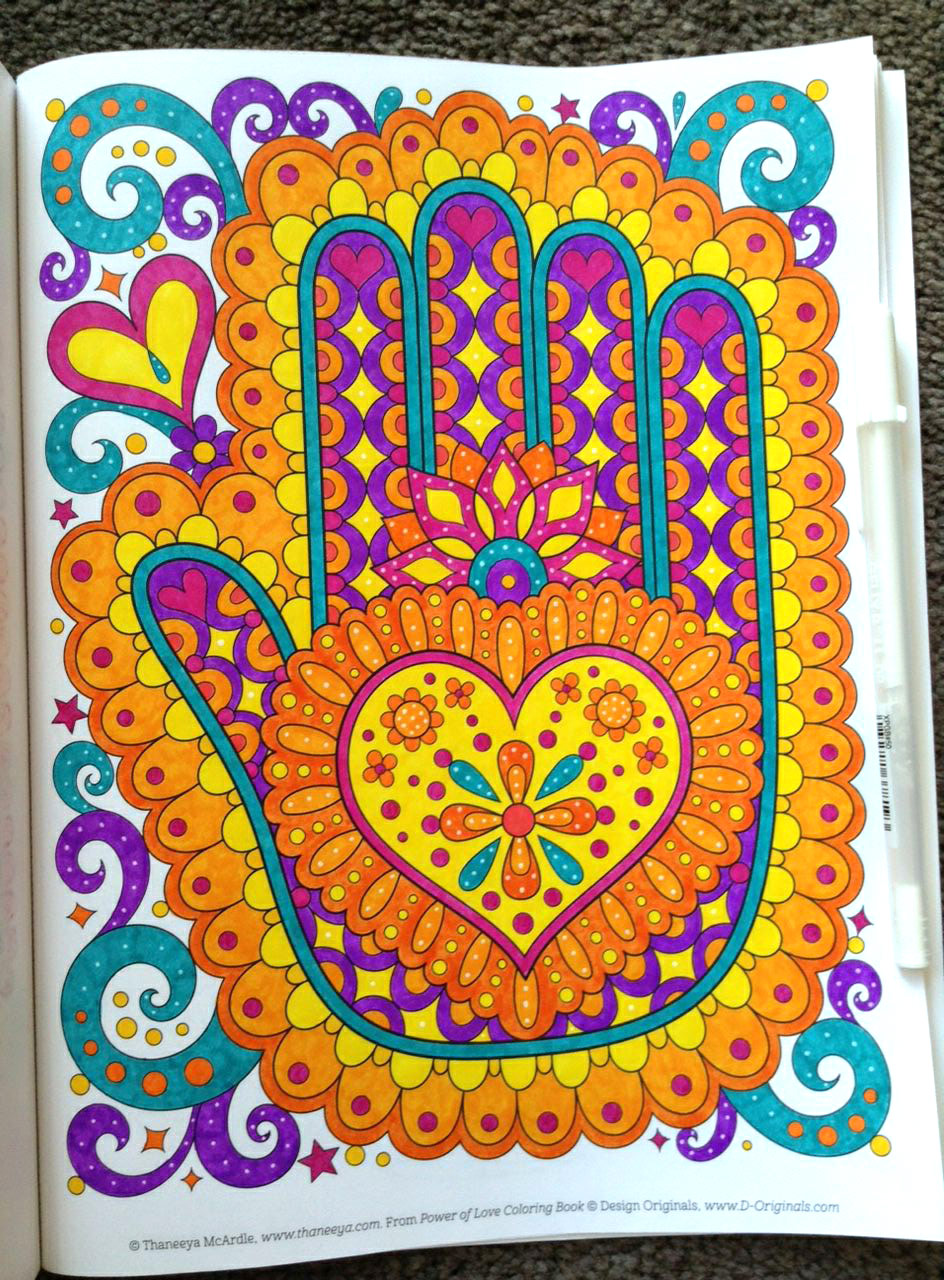 Hamsa heart coloring page from Thaneeya McArdle's POwer of Love Coloring Book, colored by Tammy M