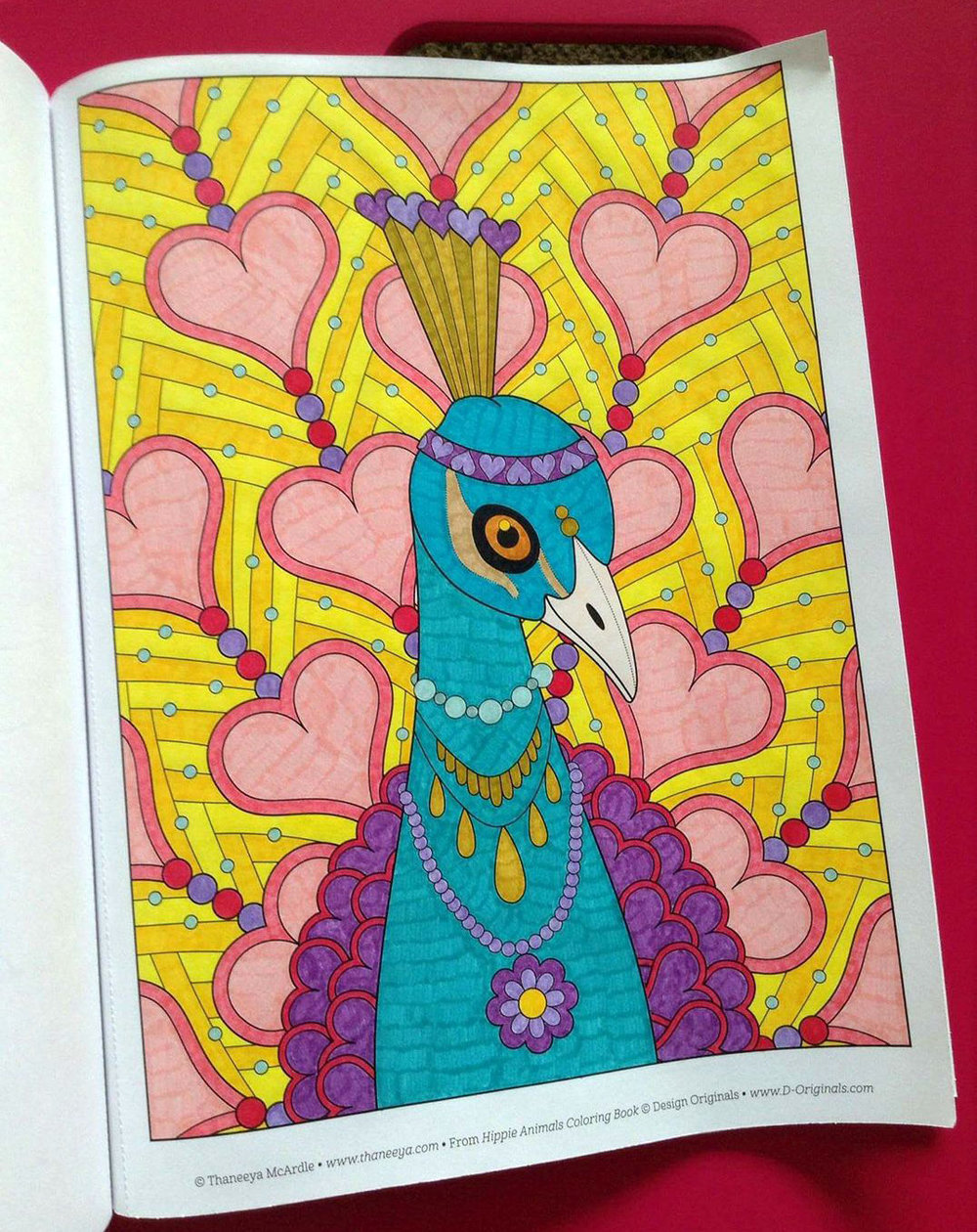 Peacock coloring page from Thaneeya McArdle's Hippie Animals Coloring Book, colored by Tammy M