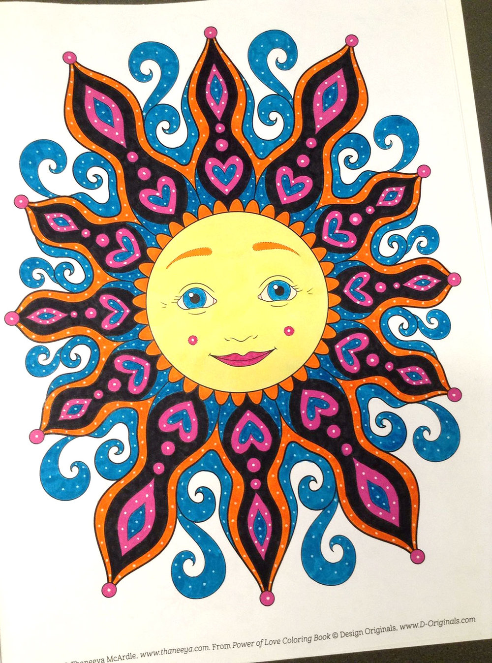 Sun coloring page from Thaneeya McArdle's Power of Love Coloring Book, colored by Tammy M