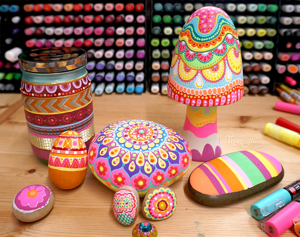 Painting on rocks, eggs, jars and ceramics: Paint marker projects by Thaneeya