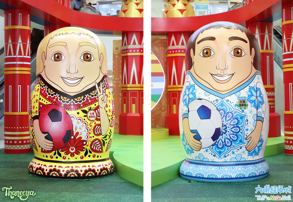 Soccer-Themed Russian Nesting Dolls by Thaneeya McArdle, on display at Tai Po Mega Mall in Hong Kong