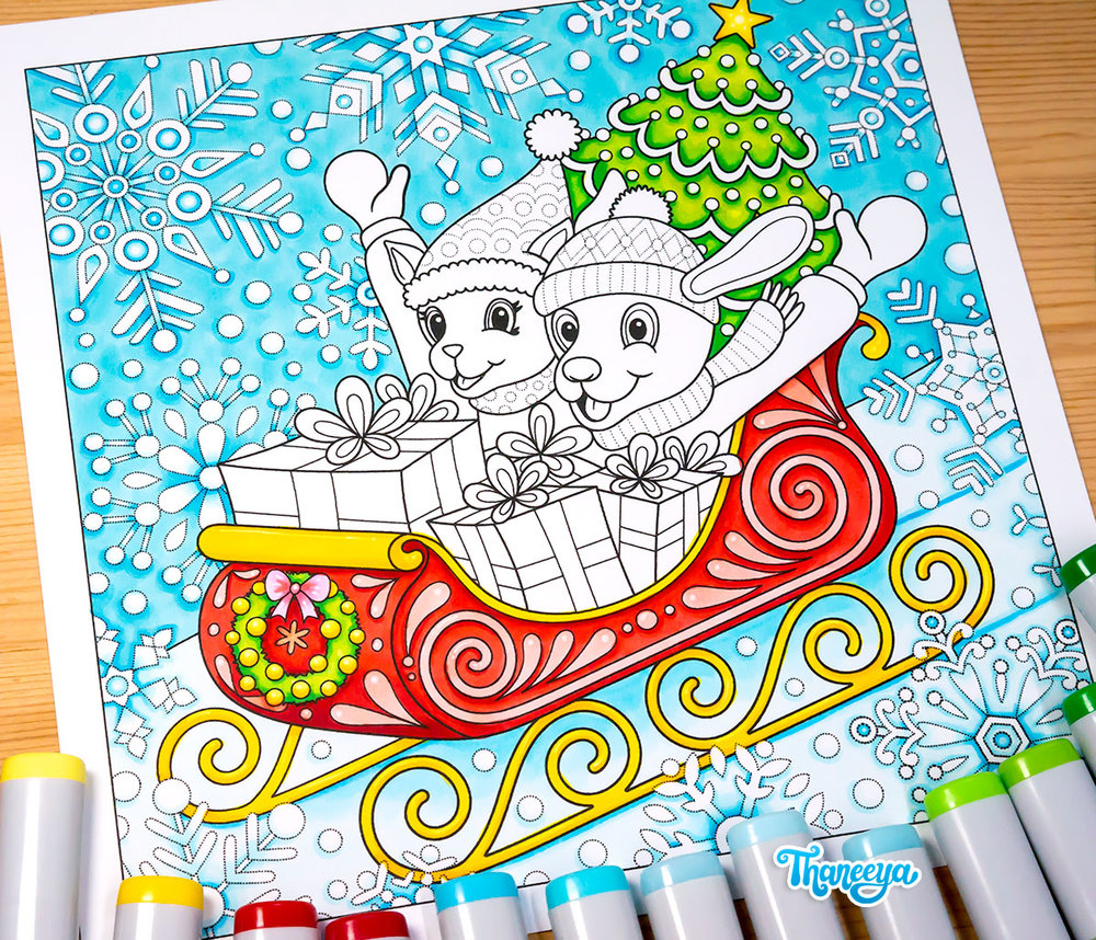 Sleigh Ride coloring page from Thaneeya McArdle's Holiday Cheer Coloring Book