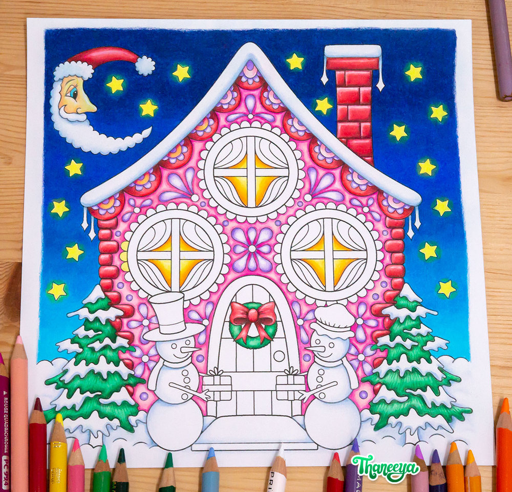 Christmas Cottage coloring page from Thaneeya McArdle's Holiday Cheer Coloring Book
