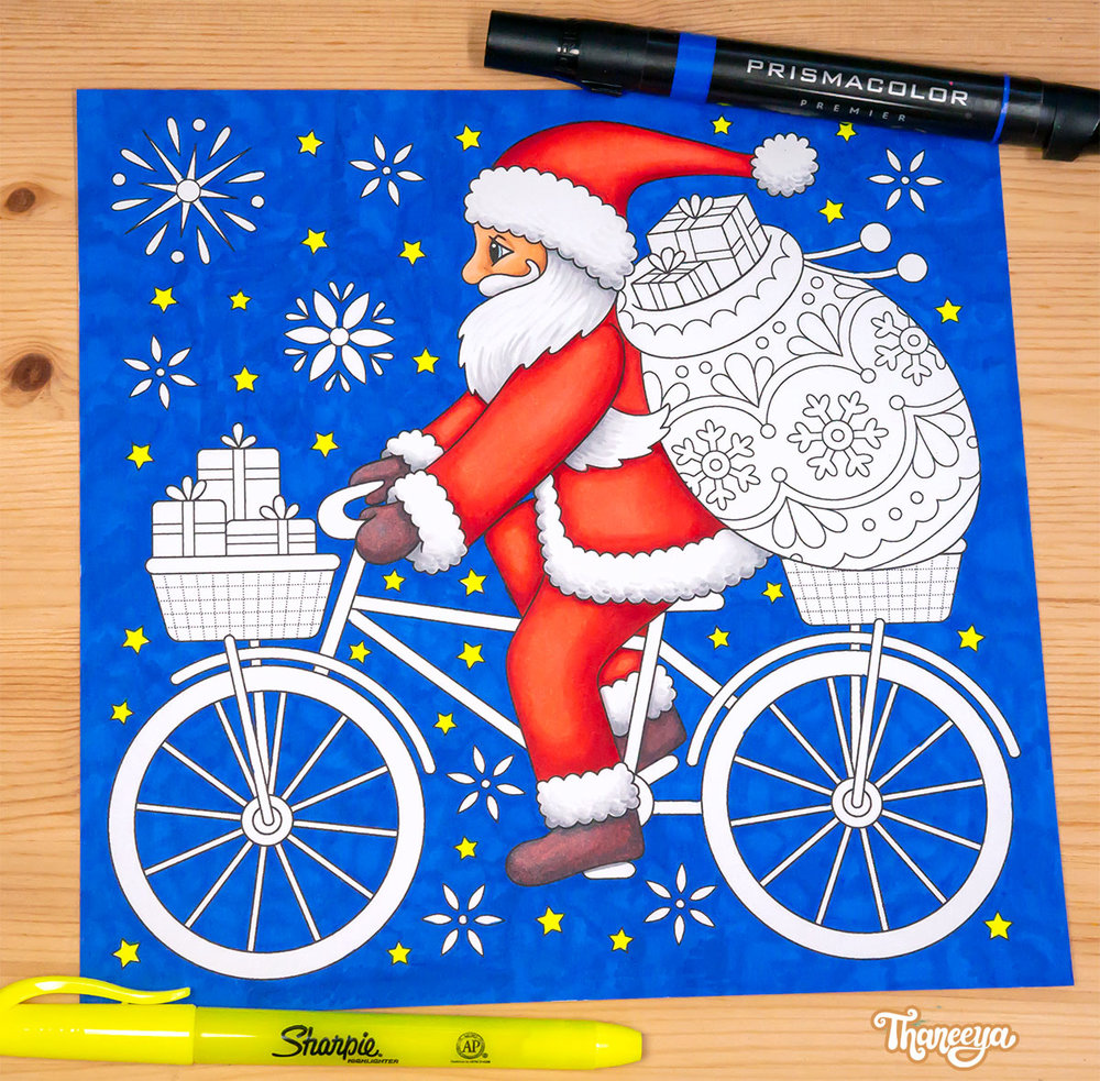 Santa riding a bicycle coloring page from Thaneeya McArdle's Holiday Cheer Coloring Book