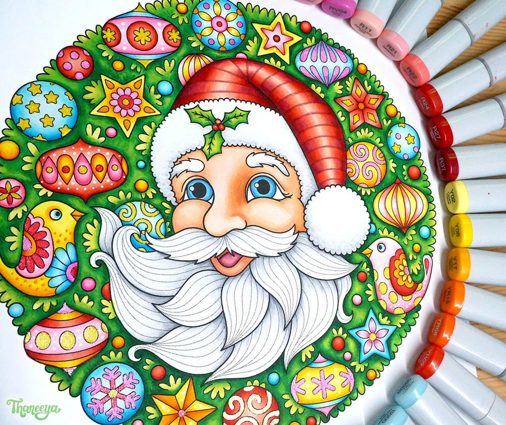 Santa in Wreath coloring page from Thaneeya McArdle's Holiday Cheer Coloring Book
