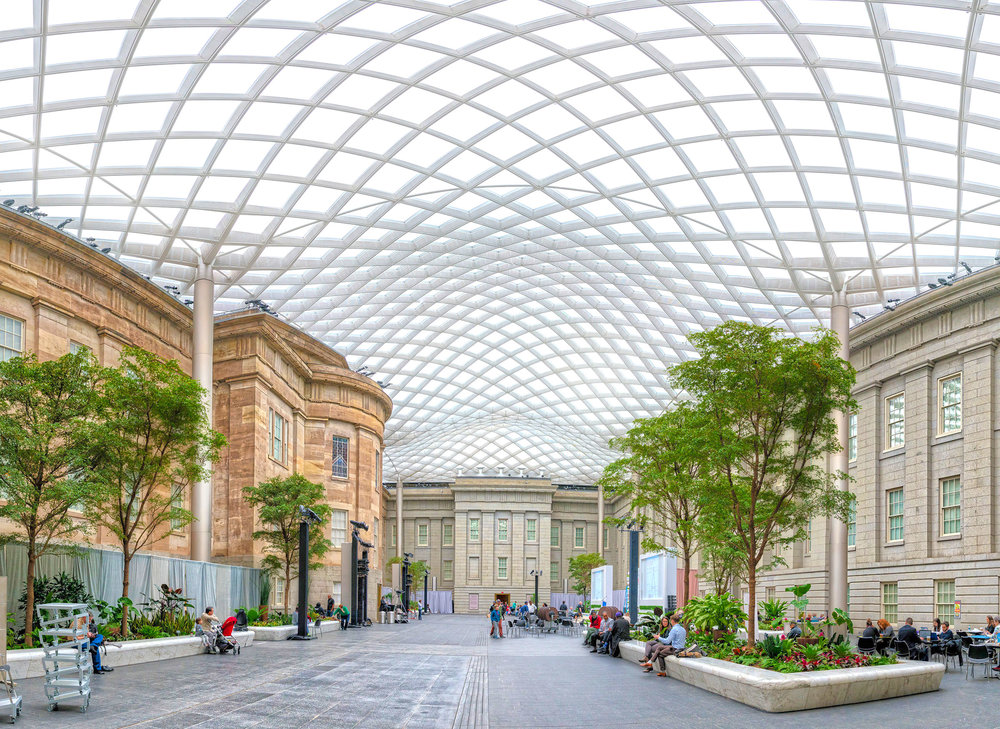 Panorama of the Kogod Courtyard at the National POrtrait Gallery in Washington, DC.