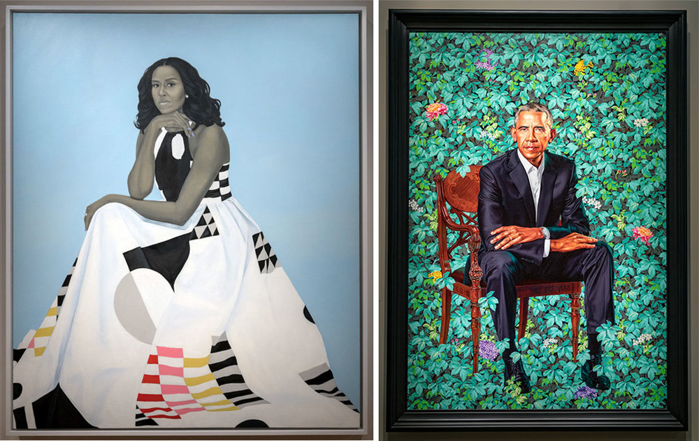 Portraits of Michelle and Barack Obama at the National Portrait Gallery in Washington DC