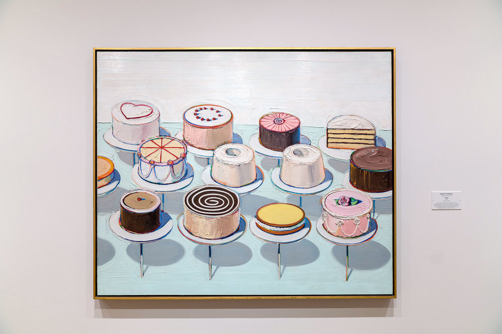 Wayne Thiebaud, Cakes, 1963, Oil on Canvas at the National Gallery of Art in Washington, DC.