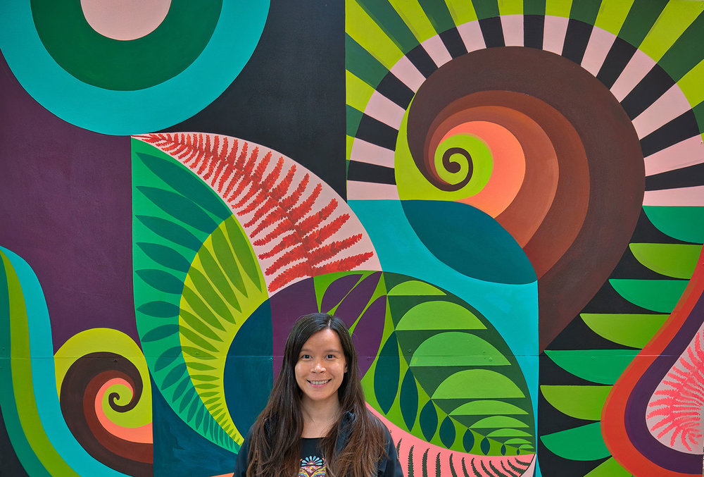 In front of a mural at the US Botanic Garden, Washington DC