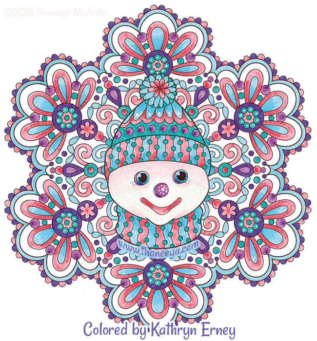 Snowman in Snowflake Coloring Page by Thaneeya McArdle