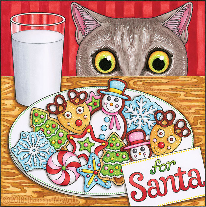Cookies for Santa Coloring Page by Thaneeya