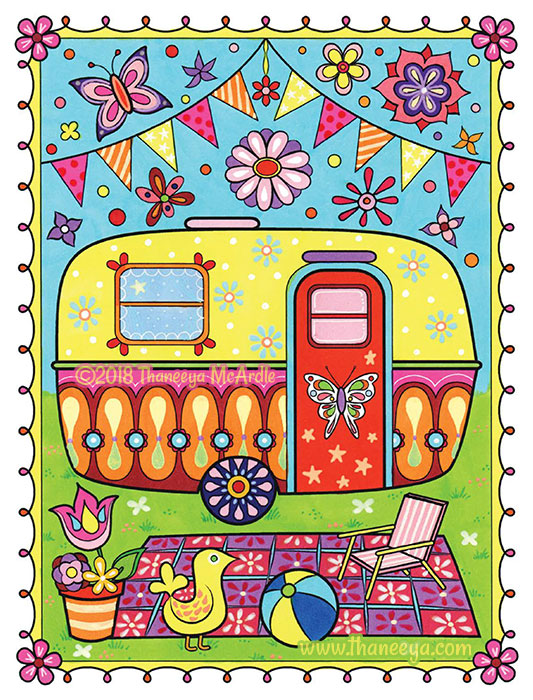 Colorful Campervan Coloring Page by Thaneeya