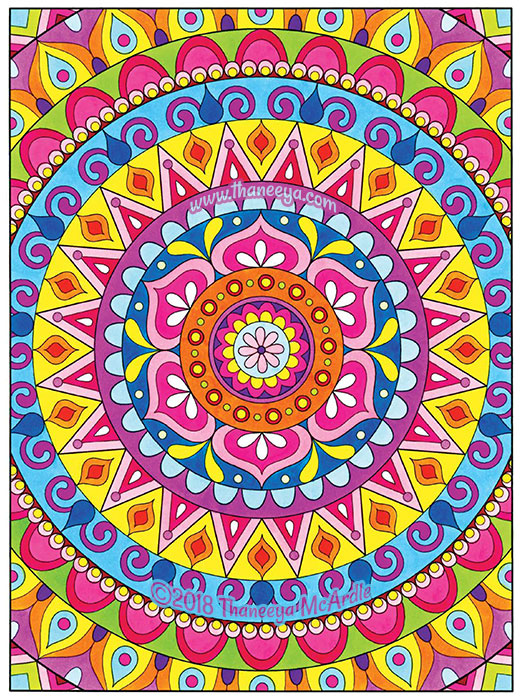 Colorful Mandala Coloring Page by Thaneeya