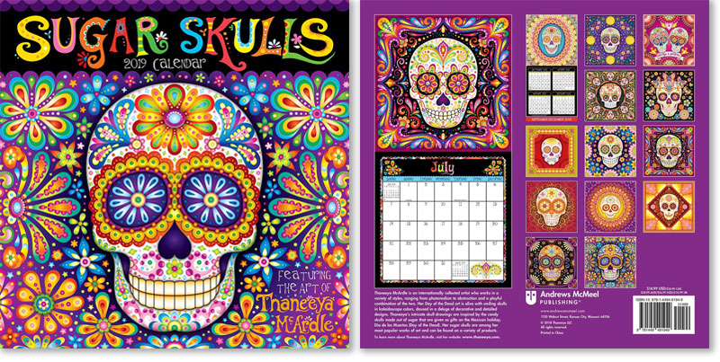 2019 Sugar Skulls Wall Calendar by Thaneeya
