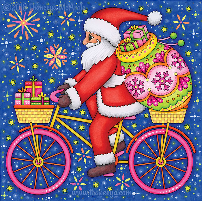 Santa Riding a Bicycle Coloring Page by Thaneeya McArdle