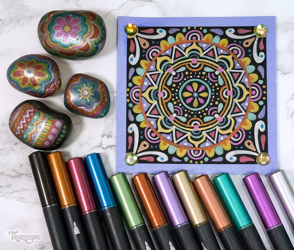 Spectrum Noir Metallic Markers on Paper and Rocks