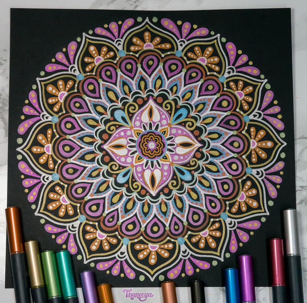 Spectrum Noir Metallic Markers - Mandala on Black Paper by Thaneeya McArdle