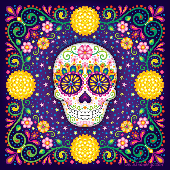 Alleluia Sugar Skull Art by Thaneeya McArdle