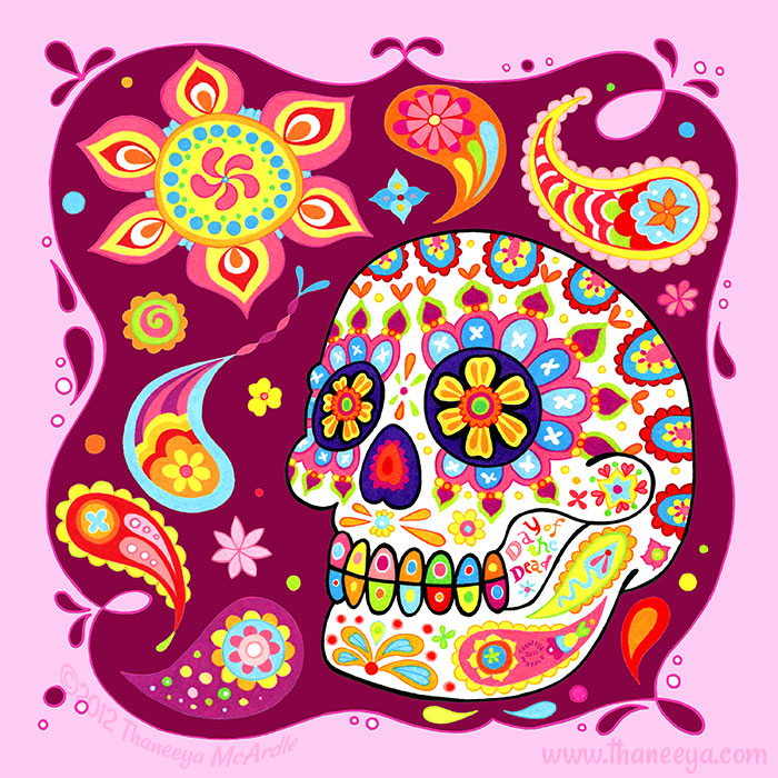 Colorful Sugar Skull Artwork by Thaneeya