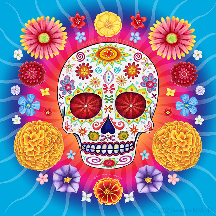 Sugar Skull Starburst with Flowers by Thaneeya