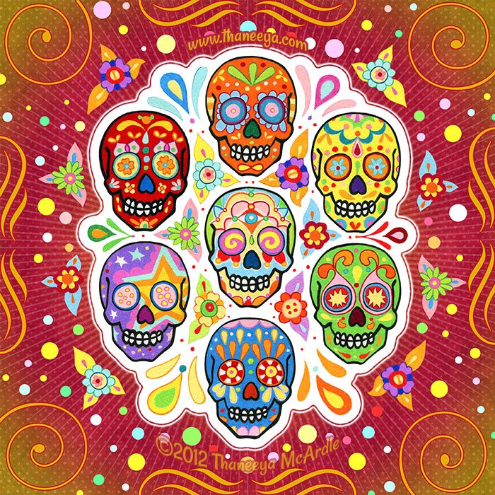 Colorful Calaveras Art by Thaneeya