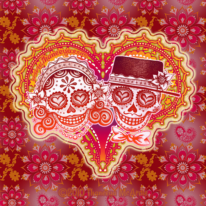 Day of the Dead Skull Couple by Thaneeya