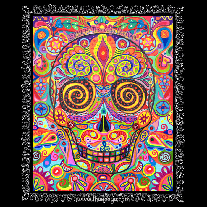 Colorful Sugar Skull by Thaneeya
