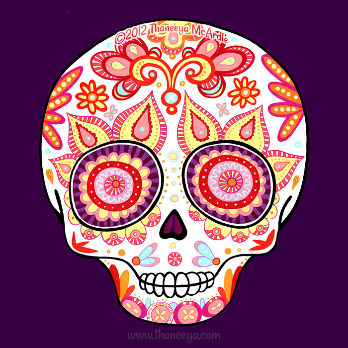 Colourful Sugar Skull by Thaneeya