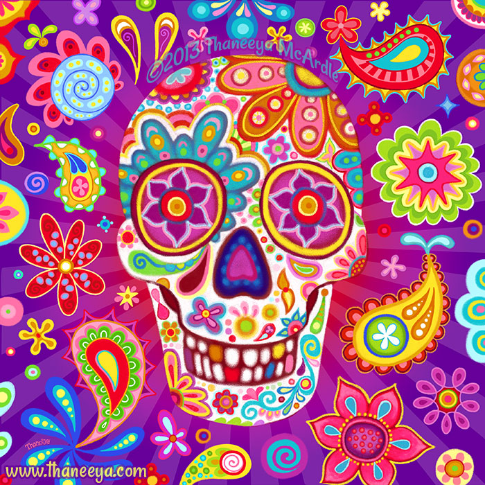 Bobo Chalk Sugar Skull Art by Thaneeya McArdle