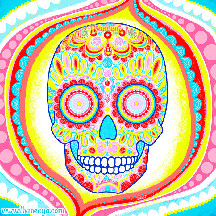 Primary Psychedelic Sugar Skull by Thaneeya McArdle