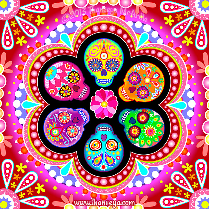 Digital Sugar Skull Art by Thaneeya McArdle